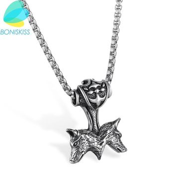 Boniskiss Sliver Wolf Pendant & Chain Necklace Men/Women Stainless Steel Punk Style Necklaces Jewelry Collier Ras Du Cou