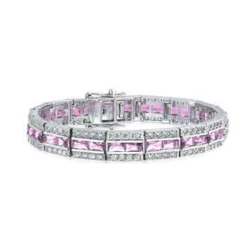Deco Style Pink Baguette Cubic Zirconia Prom Bracelet Silver Plated
