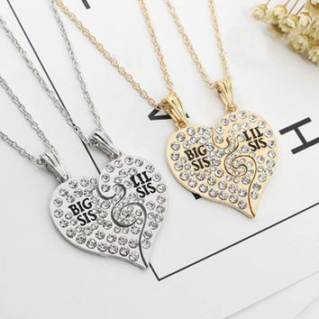 2017 Dropshipping 2pc/set Two Totem Split Peach Heart Necklace  Love Girlfriend Sister Chain