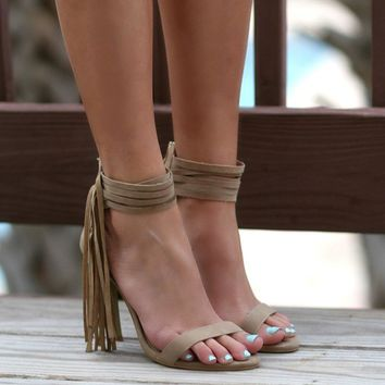 The Renegade Beige Strappy Ankle Fringe Heel