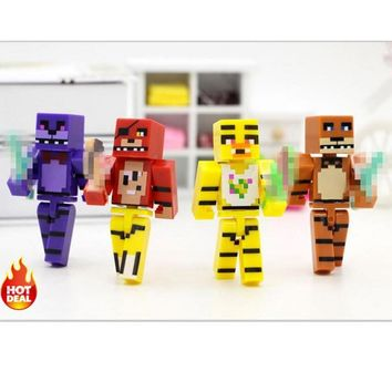 Minecraft Toys Figures 4pcs/set  At  4  Foxy Chica Bonnie Freddy Action Figures Kid Toy Gifts #E