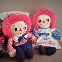 """Raggedy Ann and Andy 12"""" Dolls Vintage 1982 Knickerbocker Applause Classic Boy Girl Rare Cloth Doll Set 8456 8457 FREE SHIPPING"""