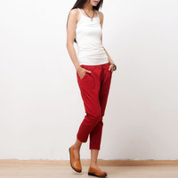 Red cotton waist elastic waist stretch pants Feet pants