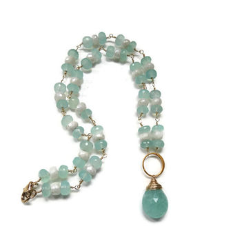 Brazilian Aquamarine, Aqua Chalecondy and Mystic White Sapphire Gold Filled Necklace ~ March Birthstone