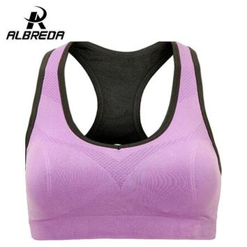 Albreda Professional Binand Running Yoga Sports Bra Up Shockproof Wirefree Crop Top Professional Gym Fitness Racerback Vest