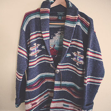 90's  Ralph Lauren Hand Knit Aztec Tribal Native Jumper Sweater Tunic Small Medium Navajo Lambs Wool Blanket  Leather closure
