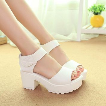 DreamShining Fashion Sandals Women Summer Shoes Wedges Open Toe Thick Heel Mujer Soft