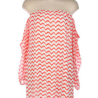 Chevron Coral Print off the shoulder Dress  by 21mainstreet