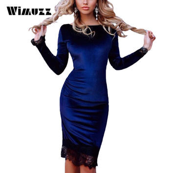Wimuzz Blue Elegant Velvet Dress Women Lace Bodycon Party Dresses 2016 Long Sleeve Autumn Winter Dress