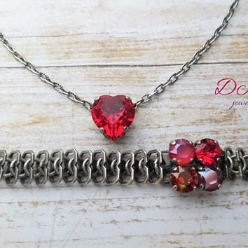 Swarovski Heart Pendant, Red, Crystal, Simple, Antique Silver, Adjustable, Valentine Gift, DKSJewelrydesigns, FREE SHIPPING