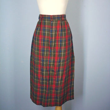 High Waist Flannel Skirt / Vintage Plaid Skirt / Lumberjack Plaid / M L