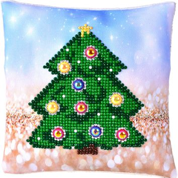 "Christmas Tree Pillow Diamond Dotz Diamond Embroidery Pillow Facet Art Kit 8""X8"""