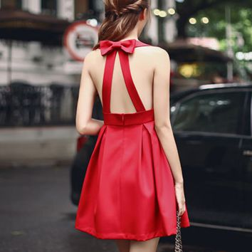 Halter Bow Crossover Open Back Slim Dress