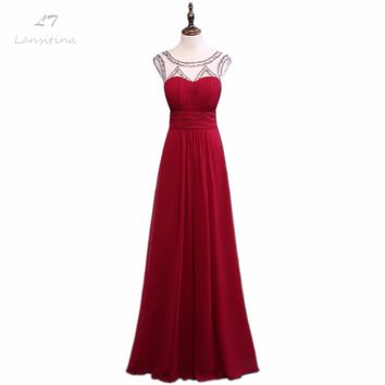 LANSITINA 2017 New Style Prom Dress High Quality Fashion O-Neck Bare Back A-Line Cheap Chiffon Party Gown Dresses