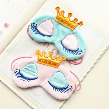 Lovely Pink/Blue Crown Sleeping Mask Crown Eyeshade Eye Cover Travel Cartoon Long Eyelashes Blindfold Gift For Women Girl makeup