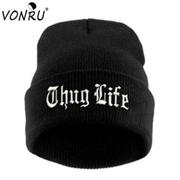 ICIKHTG OPAL FERRIE - THUG LIFE Black Embroidery Letter Hat Unisex  Hip Hop Beanie Knitted Hat