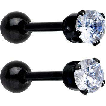 "16 Gauge 3/8"" Clear Gem Black Anodized Titanium Cartilage Tragus Earring 2 Pack"
