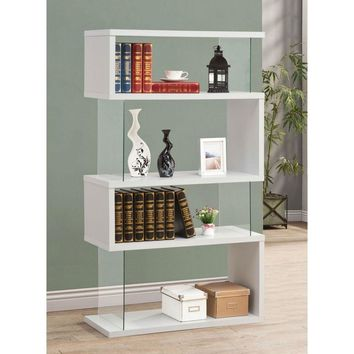 Modern Bookcase with Glass Panels in White