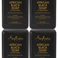 Shea Moisture African Black Soap Bar Soap, 8 oz (Pack of 4)