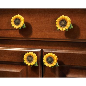 Sunflower Country Cabinet Drawer Pulls - Set of 6