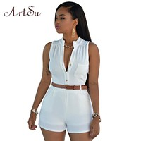 ArtSu 11 colors 2017 summer romper bodycon rompers womens jumpsuit sleeveless shorts S-XXL Sexy bodysuit with belt JU5198