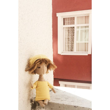 OOAK Art Doll, Yellow Cloth Doll, OOAK Doll Sculpture, Personalized Doll with wool Felt hair