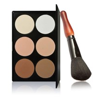 ONETOW Brand 6 Colors Professional Cosmetic Contour Palette Face Powder Makeup Gourd Powder Brush Black Makeup Palette