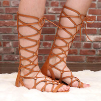 Brown Tall Gladiator Sandals