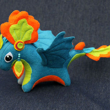 MADE TO ORDER     Soft toy dragon fantasy plush animal textile toys Soft sculpture children, fabric toy,