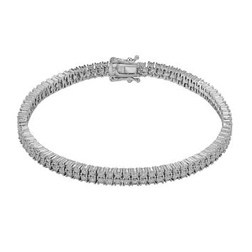 Women's 2 Row Tennis Link Bracelet Round Cut 14k Rhodium Elegant Stylish