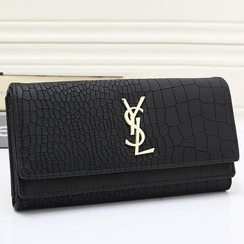 Perfect YSL Women Fashion Leather Buckle Wallet Purse