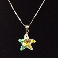 Sterling Silver Star Fish Shaped Swarovski Elements Crystal Pendant and Necklace