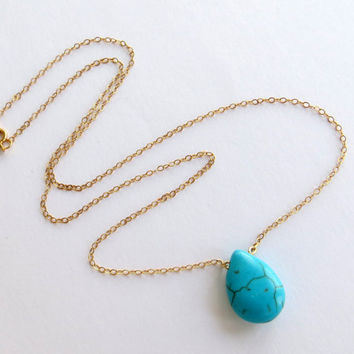 Tiny Turquoise Necklace. Gold and Turquoise Drop Necklace. Minimalist Gold or Silver Necklace.