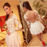 OMH fashion clothing long sleeve lace flowers patchwork Round collar Pure color Hollow out sexy women Mini Dresses, FZ326