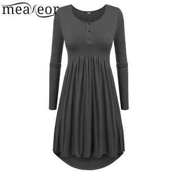 High Low Hem Empire Waist Pleated Dress Long Sleeve Solid Button Casual Dresses