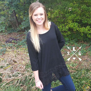 Lyla's Black Solid Raglan Shirt with Tassle Lace