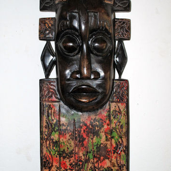 African Art, Yoruba Mask, African American Art, Wall Hangings, Home Decor, Afrocentric Art, Black Art, Tribal Art African Mask Boriquah Art