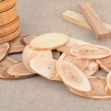 Set of 3 handmade laconic wooden trivets for hot pots and cups for kitchen
