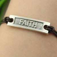 bracelet--faith bracelet,silver charm bracelet,brown leather bracelet,friendship gift