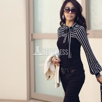 New Polo Neck Stripes Long Puff Sleeve Cotton Casual Tops Blouses T-Shirt