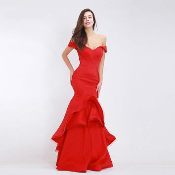 Red Evening Dresses Long Mermaid Elegant Boat Neck Simple Party Gown Long Formal Prom Dress