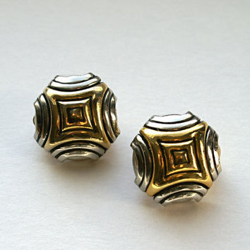 Geometric Earrings Vintage Goldtone and Silvertone Button Clip Ons