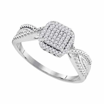 10kt White Gold Women's Diamond Square Cluster Tapered Bridal Wedding Engagement Ring 1-6 Cttw - FREE Shipping (USA/CAN)