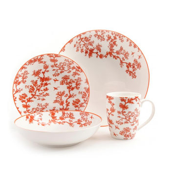 Florence Broadhurst The Cranes 4 Piece Place Setting, Coral