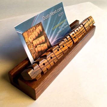 Desk Name Plate - Business Card Holder - Bocote and Walnut Woods - 12 to 20 Letters