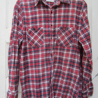 80s Plaid Flannel Shirt by American Edition, Men's M-L // Vintage Red and Blue Utility Shirt // Plaid Outdoor Shirt
