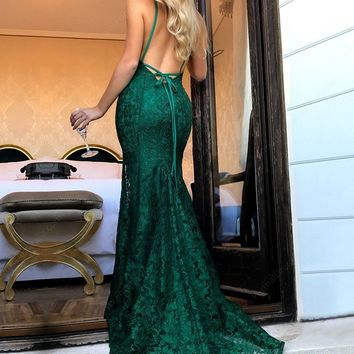 Vestido de Festa Sexy Backless Mermaid Prom Dresses Simple Lace Dress Prom Sweep Train Formal Dress Abiti da cerimonia donna