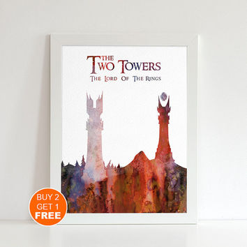 The Two Towers watercolor Lord of the Rings Middle earth illustration art print, Tolkien middle earth print Holiday gift LOTR