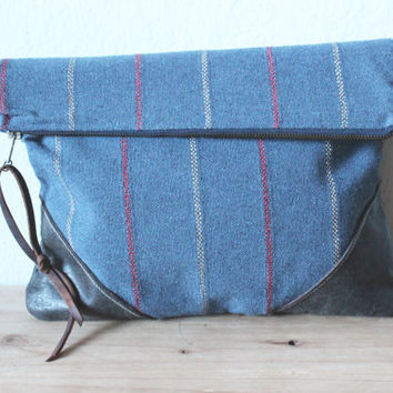 Casual Clutch /Pouch, Bohemian Style, Canvas and Vegan Leather