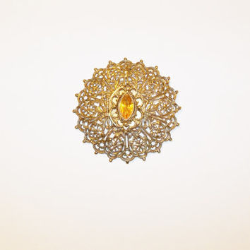 Vintage Perfume Brooch Pendant Filigree Topaz Focal Stone Gold Tone November Birthstone Gift for Her Christmas